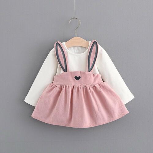 0-3 Years Old Autumn Baby Kids Toddler Girl Cute Rabbit Bandage Suit Mini Dress