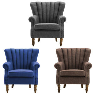 Linen Fabric Chesterfield Queen Anne Style Armchair