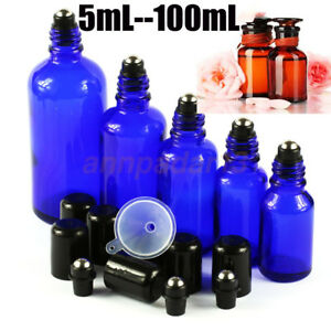 5-100ML-Blue-Thick-Glass-Roll-on-Bottles-Black-lid-Perfume-Essential-Oil-Roller