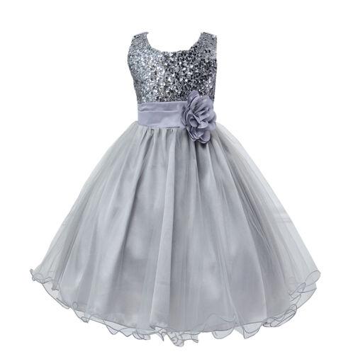 Kids Baby Flower Girls Party Sequins Tutu Princess Long Dress Wedding Bridesmaid