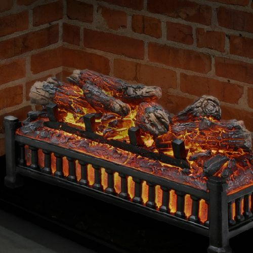 Wood Electric Faux Fireplace Logs