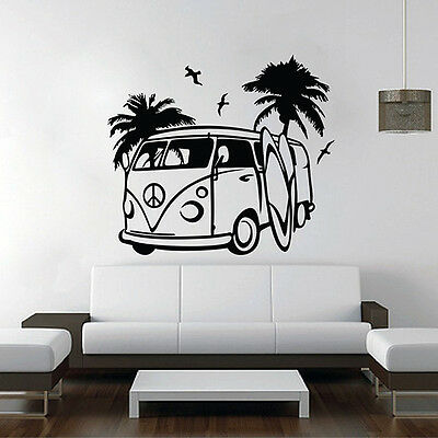VW Camper Wandtattoo Wandaufkleber Wandsticker decal sticker aufkleber bulli v8
