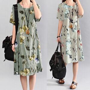 Mode-Femme-Belle-Confor-Floral-Print-Manche-courte-Plage-Party-Robe-Mini-Plus