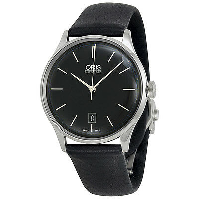 Oris John Coltrane Automatic Black Dial Black Leather Watch 733-7681-4084LS