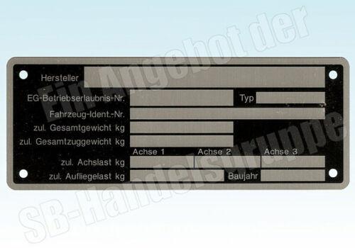 Placa de identificación para automóviles remolque tráiler caravanas neutral aluminio 150x50mm