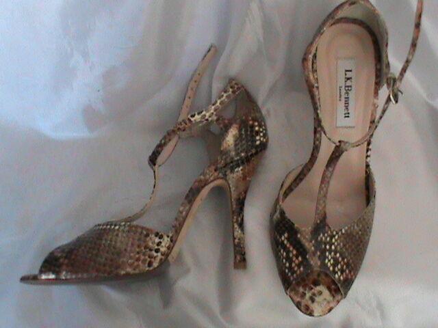 NWOT women's 7.5 / 38 LK Bennett snakeskin brown brown snakeskin high heel pump open toe sandal 7425d9
