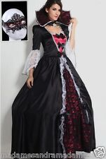 HALLOWEEN WOMAN COSTUME VAMPIRE DRESS MEDIEVAL FANCY DRESS GOTHIC OUTFIT QUEEN