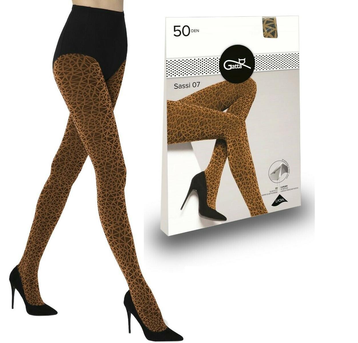 Gatta gemusterte Strumpfhose SASSI 07 Damen 3D Geometrisches Muster 50 den GELB