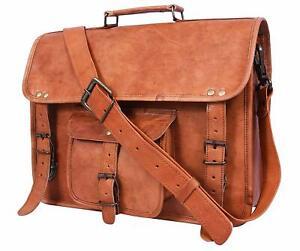 96a08ccbe218 Details about LARGE Leather messenger bag laptop bag computer case shoulder  bag men Carry on