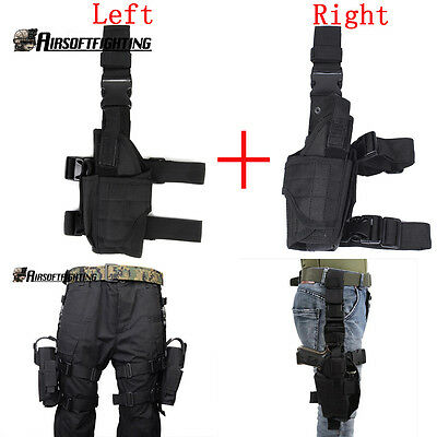 2X Airsoft Tactical Pistol Drop Leg Holster Left+Right Hand Thigh Gun Holsters