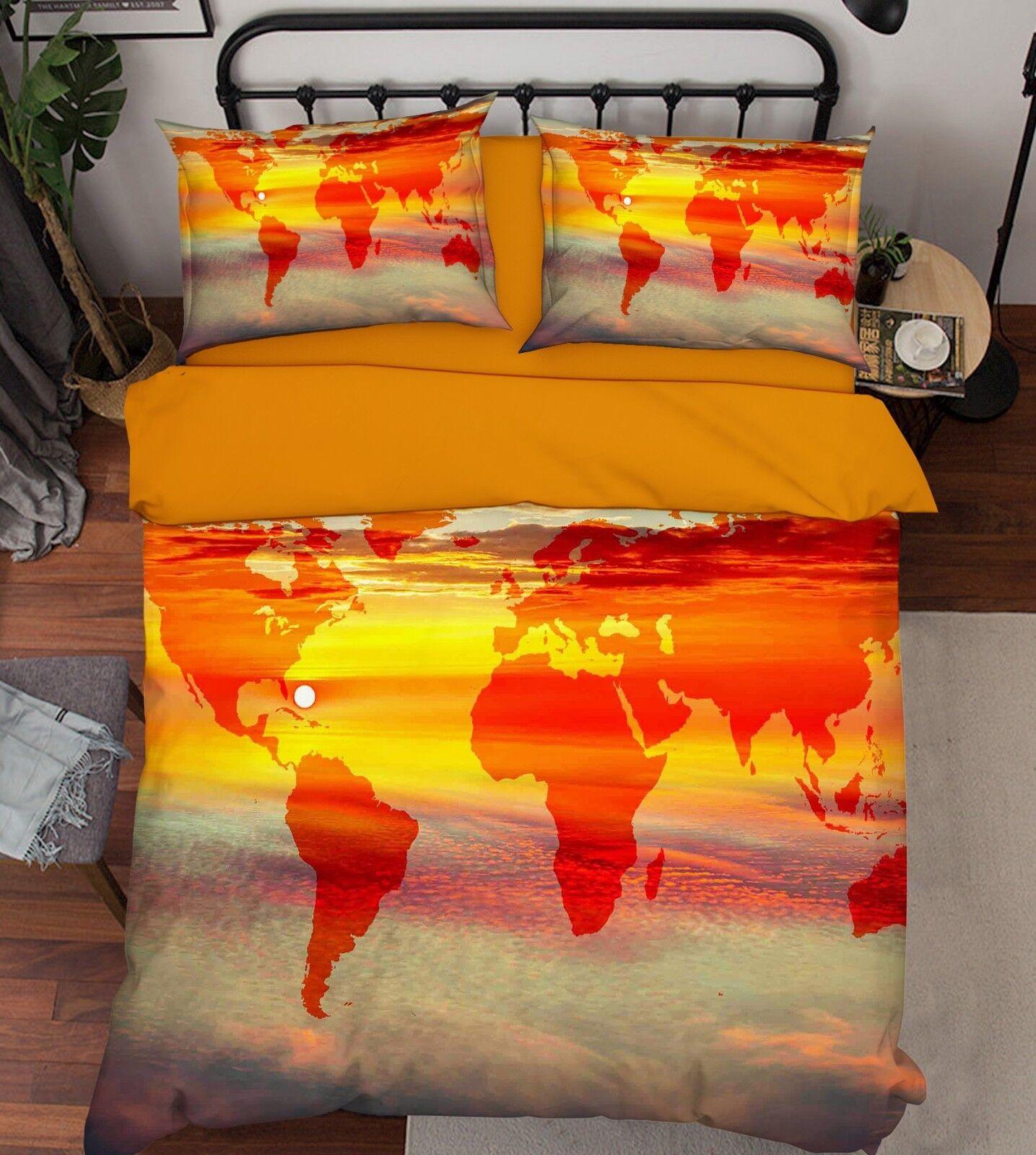 3D Dusk Map 686 Bed Pillowcases Quilt Duvet Cover Set Single King UK Summer