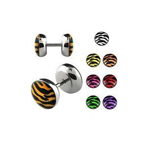 1-Stueck-10mm-fake-plug-Ohrstecker-Edelstahl-Zebra-Tiger-design-Piercing-ILPA10