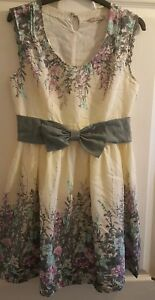 BEAUTIFUL-DARLING-cotton-Tea-dress-Summer-Floral-Bow-Knee-length-Size-S-VGC
