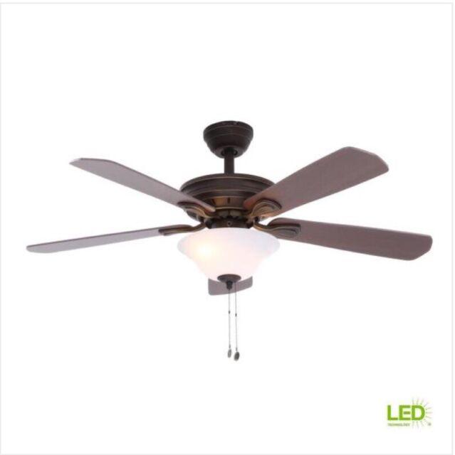 Hampton Bay 54462 Wellston 44 In  Led Indoor Oil Rubbed Bronze Ceiling Fan