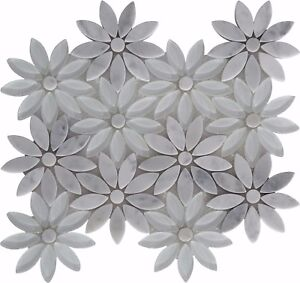 Image Is Loading Snow Flower White Gl Carrara Marble Mosaic Tile