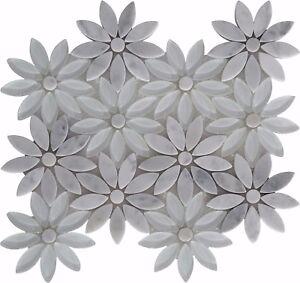 Details About Snow Flower White Gl Carrara Marble Mosaic Tile Shape Tiles Backsplash