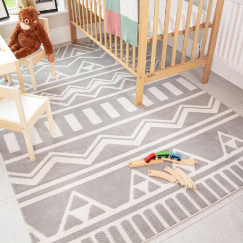 Grey Scandi Childrens Rug Soft Tribal Geomeric Teens Kids Rugs Baby Play Mats