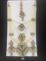Turquoise Gold Indian Costume Jewelry Necklace Earring Pearls Crystal Bridal Set