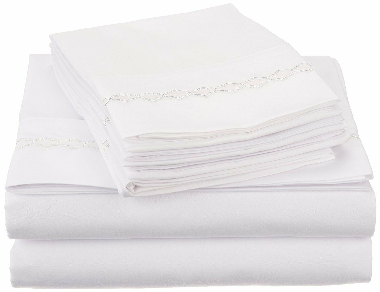 WRINKLE FREE 6PC SHEET SET SOLID-CLOUDS EMBROIDERY-WHITE WHITE