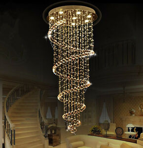 Spiral Chandelier Lead Glass Crystal Large Long Big Stairs
