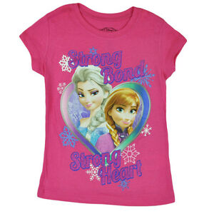 ANNA /& ELSA Girls Short Sleeve T-Shirt Officially Licensed Disney FROZEN Tee