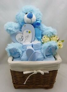 Image is loading New-baby-boy-gift-basket-h&er-baby-shower- : newborn baby boy gift baskets - princetonregatta.org