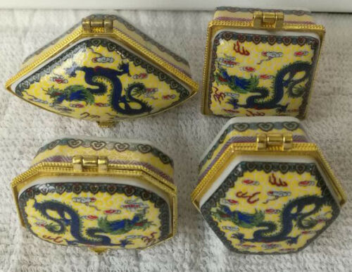 4 pieces nice Chinese Porcelain jewelry box painted rare Chinese flying dragons