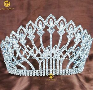 Flower-Full-Tiara-Crown-Austrian-Rhinestone-5-034-Hair-Jewelry-Wedding-Bridal-Prom
