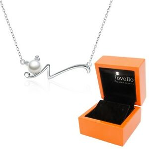 Perlen-Katze-Cat-Kette-Halskette-aus-925-Silber-mit-6mm-Perle-LED-Holzbox