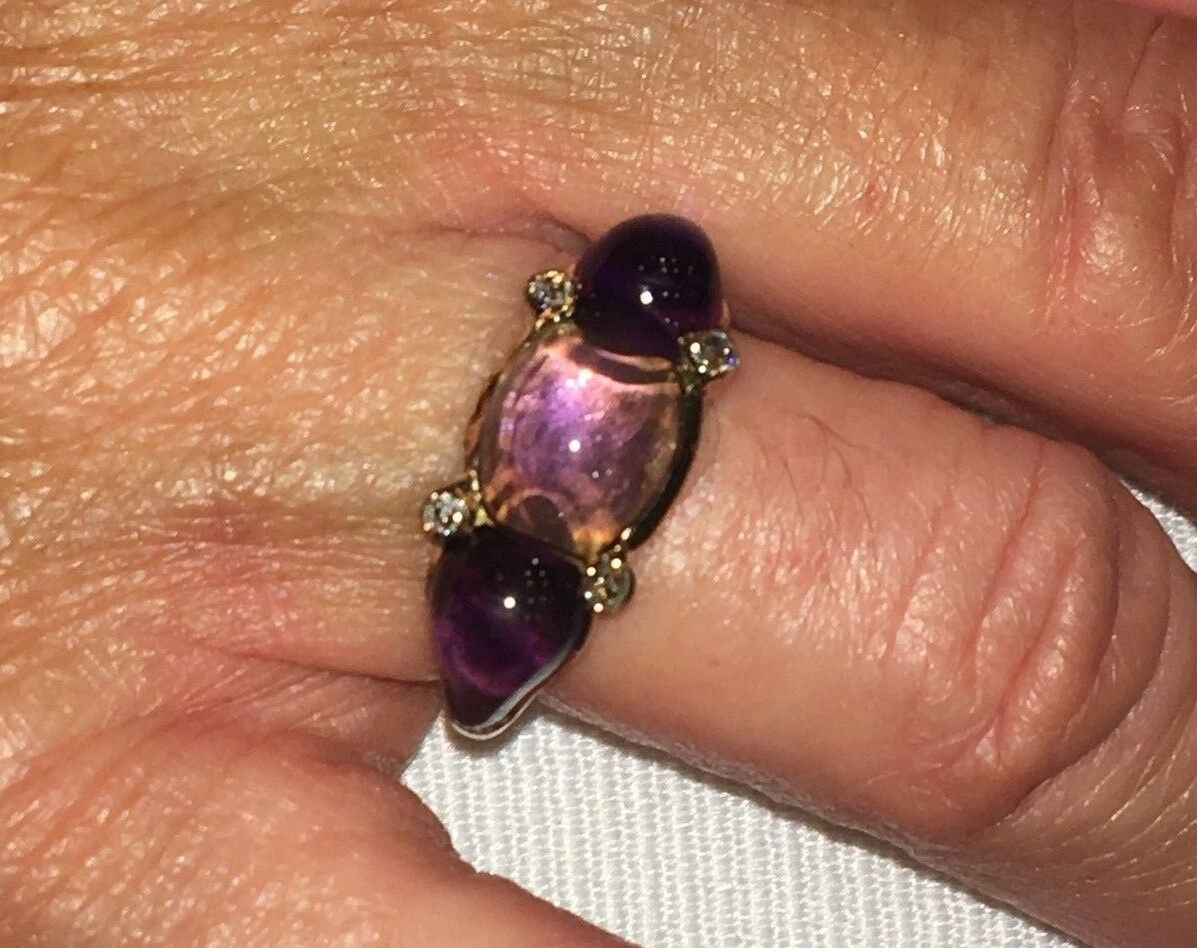 Antique 14K Yellow gold Amethyst and Diamond Ring