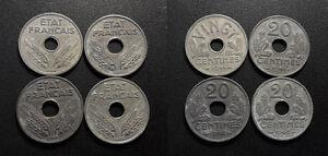 Etat-Francais-lot-de-x4-20-centimes-types-034-20-034-amp-034-VINGT-034-1941-a-1943