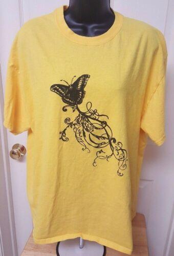 Gildan Womens Yellow Black Butterfly T Shirt Top B