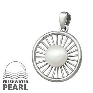 925-Sterling-Silver-Freshwater-Pearl-Drop-Pendant-Necklace-D2-Chain-Included