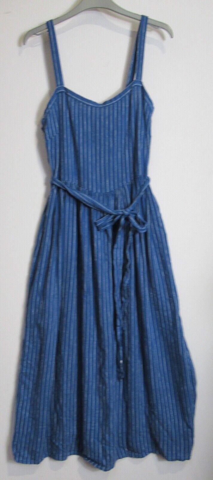 New Marks & Spencer Linen Blend Striped Midi Skater Dress - Uk size 6 - 20