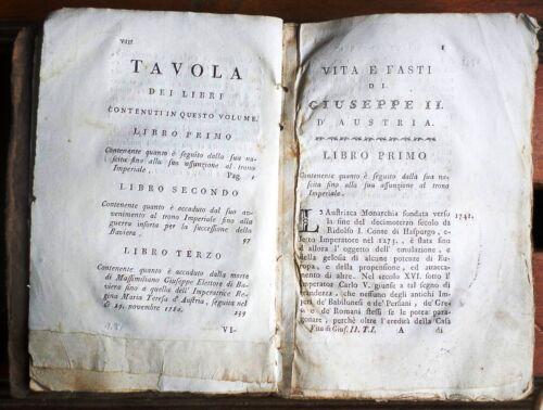 Tomo 1° Lugano 1790 YA 01 Vita e fasti di GIUSEPPE II Imperatore dei Romani