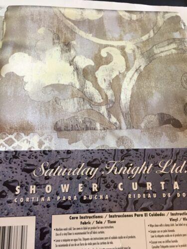 SAT KNIGHT OROFINO PLATINUM FABRIC SHOWER CURTAIN NEW
