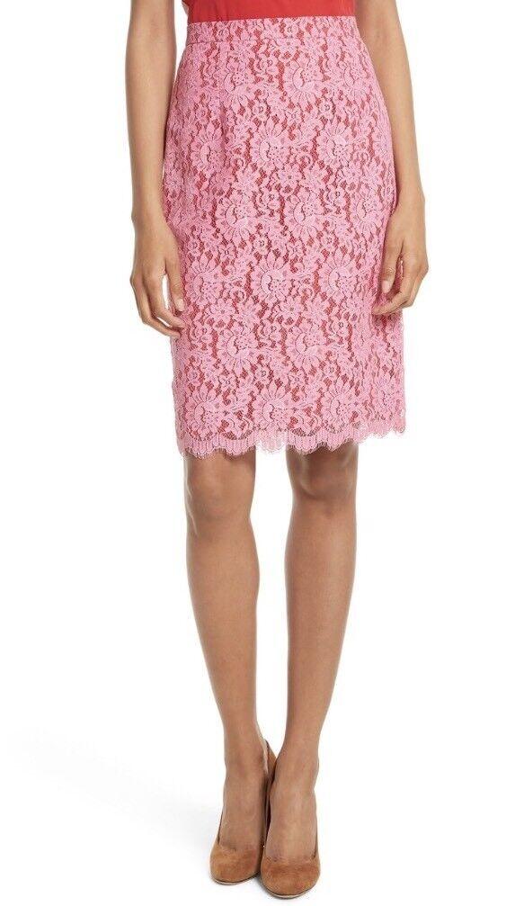 NWT Diane von Furstenberg DVF Lace Tailored Pencil Skirt Tulip Pink Sz 10  268