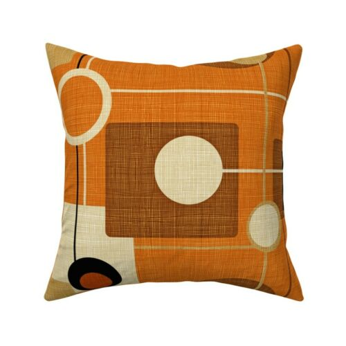 Mid Century Modern Orange Throw Pillow Cover w Optional Insert by Roostery