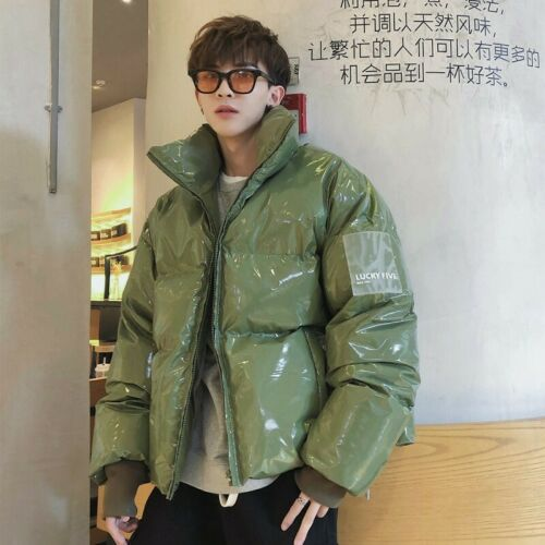 Men/'s Stand collar Parka Glossy Cotton Padded Shiny Jackets Winter Thicken Warm
