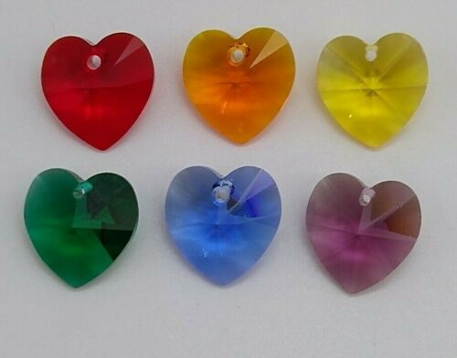 6pc Swarovski Crystal Rainbow 14mm Heart 6228 Pendant Set; 1 of each color