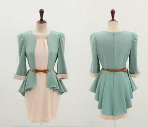 New-SHOP-ONLINE-Women-039-s-Elegant-1-2-Sleeve-Slim-Mini-Dress-With-Belt-M-L-XL