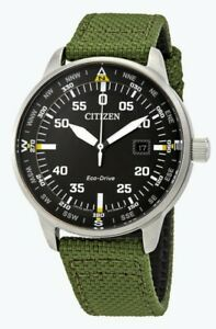 Citizen-Eco-Drive-Men-039-s-Date-Calendar-Green-Nylon-Strap-42mm-Watch-BM7390-31X