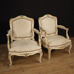 Coppia-di-poltrone-mobili-sedie-in-legno-laccato-e-dorato-stile-antico-900