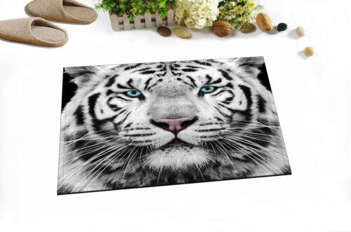 "White Tiger 72x72/"" Shower Curtain Set /& Waterproof Bathroom Mat Fabric Decor New"