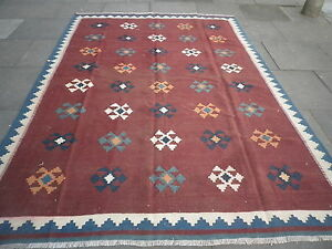 Kilim-Old-Traditional-Hand-Made-Persian-Oriental-Brown-Wool-Big-Kilim-290x200cm