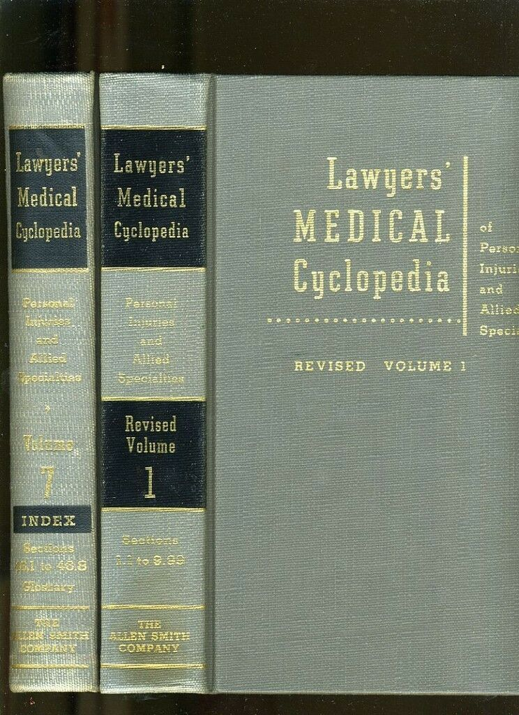 LAW LIBRARY-6 VOLS-LAWYERS MEDICAL CYCLOPEDIA OF PERSONAL INJURIES-1966  VG+ 1
