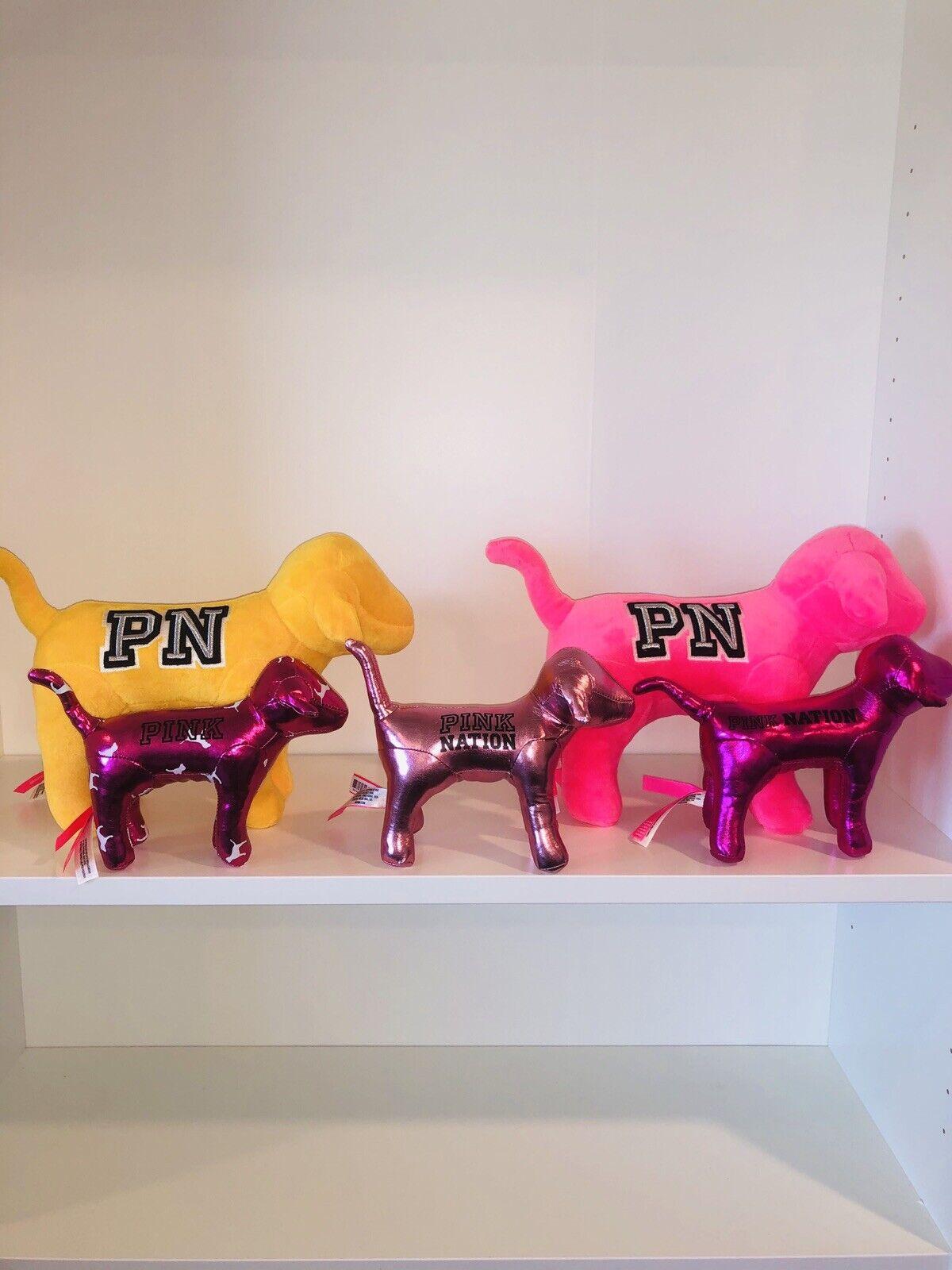 Victoria's Secret Vs Perros Cachorro rosado Día Nacional de nación Lote Grande Mini Amarillo