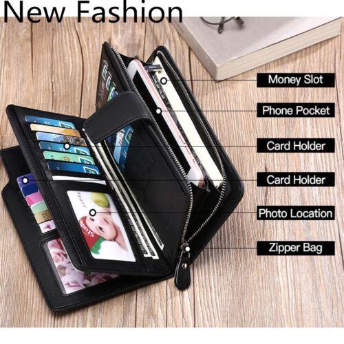 Men Zipper Multi-function Card holder Leather Wallet Long Design Quality Wallet