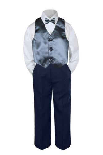 4pc Boys Suit Set Dark Gray Vest Bow Tie Baby Toddler Kids Pants S-7