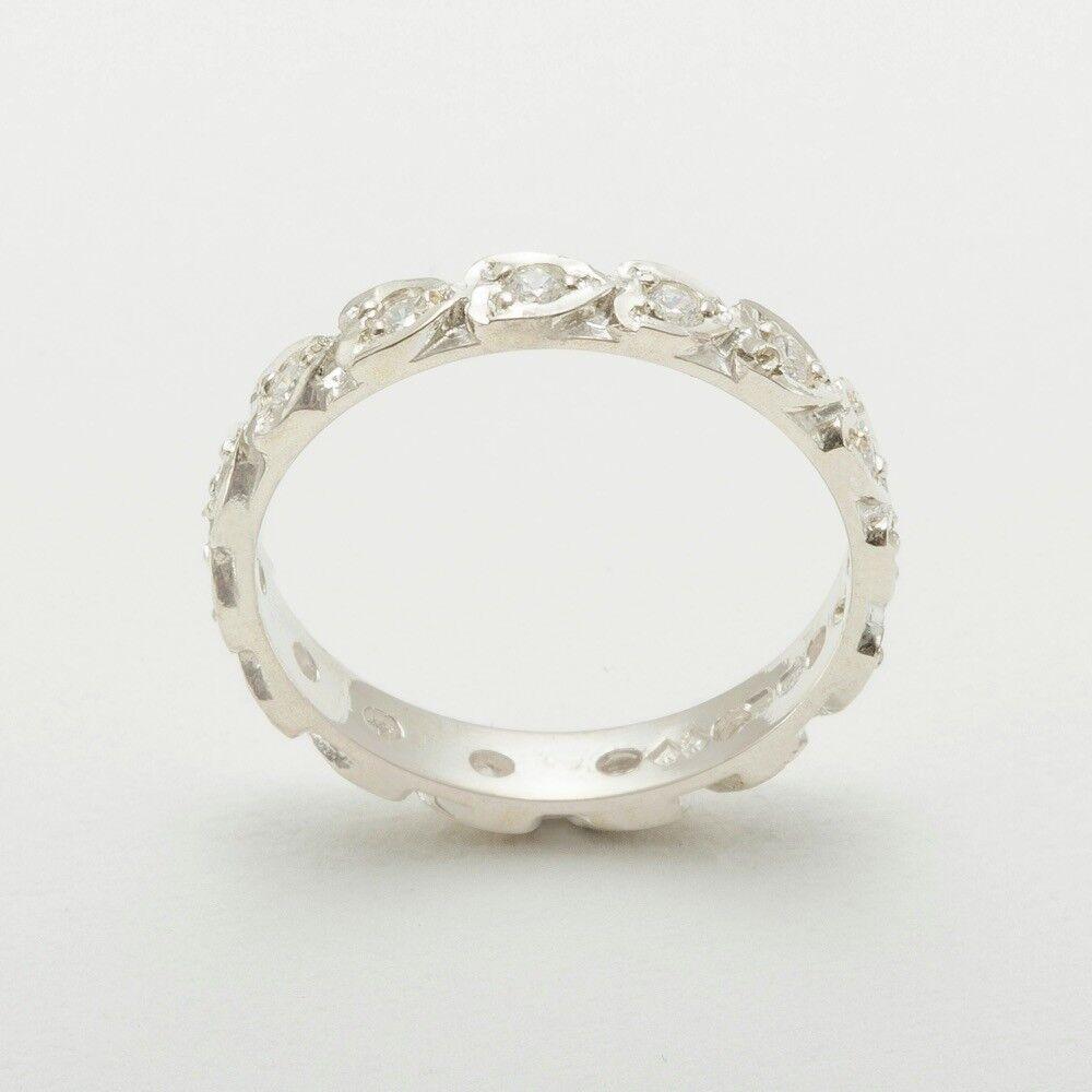 10k White gold Natural Diamond Womens Eternity Ring - Sizes 4 to 12